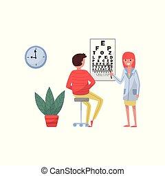 szemész, látás, fogalom, orvos, orvosi, türelmes, ábra, vektor, bánásmód, háttér, healthcare, teszt, white hím