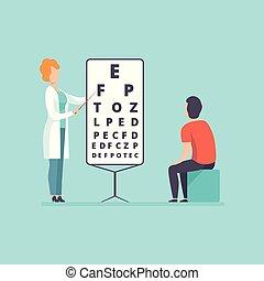 szemész, látás, fogalom, orvos, orvosi, türelmes, ábra, vektor, bánásmód, healthcare, teszt, hím