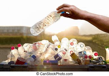 szemét, birtok, tartó, kéz, palack, újra feldolgozható, ...