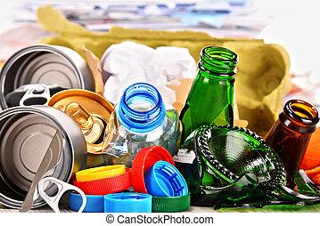 szemét, fém, újra feldolgozható, dolgozat, pohár, műanyag, ...