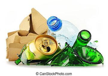 szemét, fém, műanyag, újra feldolgozható, pohár, dolgozat, ...