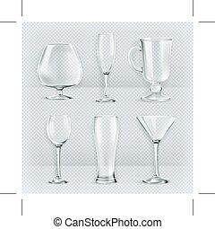 szemüveg, áttetsző, talpas pohár