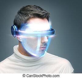 szemüveg, ember, digitális