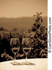 szemüveg, két, vörös bor
