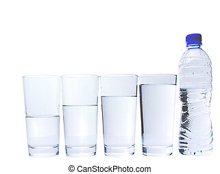 szemüveg, noha, ásványvíz, palack