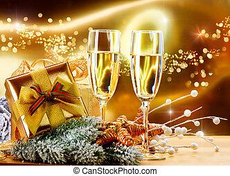 szemüveg, pezsgő, új, karácsony, két, celebration., év