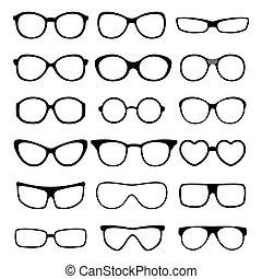 szemüveg, vektor, set.
