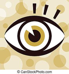 szem, design., meglepő