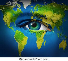 szem, földdel feltölt, emberi, bolygó