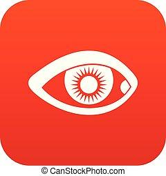 szem, ikon, digitális, piros