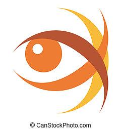 szem, illustration., meglepő
