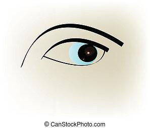 szem, kék
