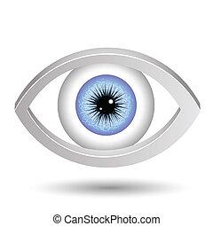 szem, kék, női