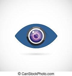 szem, lencse, elvont, vektor, fogalom, jelkép, ikon, vagy, jel, sablon