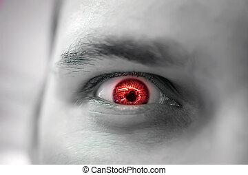 szem, mérges, bús, látszó, súlyos, piros, ember