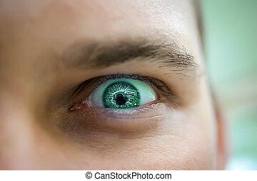 szem, mérges, bús, látszó, zöld, súlyos, ember
