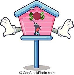 szem, pénz fa, karikatúra, épület, madár