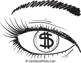 szem, pénz, skicc