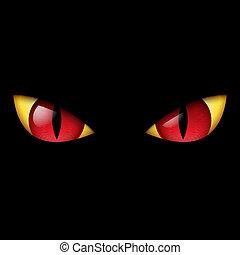 szem, rossz, piros