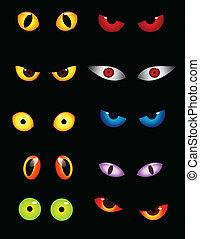 szemek, állhatatos, állat