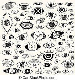 szemek, alapismeretek, állhatatos, szórakozottan firkálgat, -, kéz, tervezés, húzott