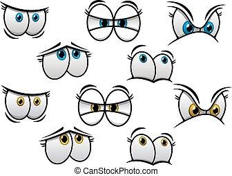 szemek, karikatúra, érzelmek, különböző