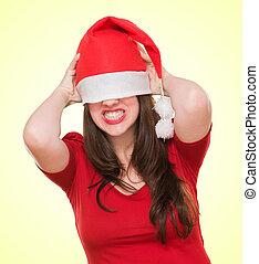 szemek, nő, neki, fedő, mérges, kalap, karácsony