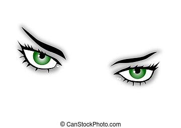 szemek, zöld