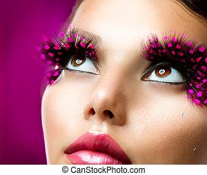 szempillák, hamis, makeup., kreatív