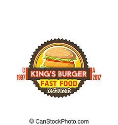 szendvics, élelmiszer, gyorsan, burger, vektor, ikon