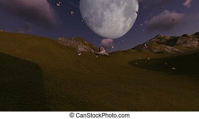 szene, von, fliegendes, vögel, mit, berg, und, mond, in, hintergrund