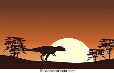 szenerie, baum, silhouette, mapusaurus