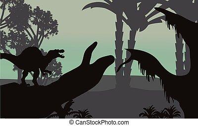 szenerie, silhouette, wald, spinosaurus