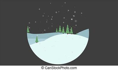 szenerie, von, weihnachten, auf, der, hügel, animation