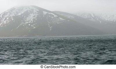szenische ansicht, auf, berg, mit, verschneiter , spitzen,...