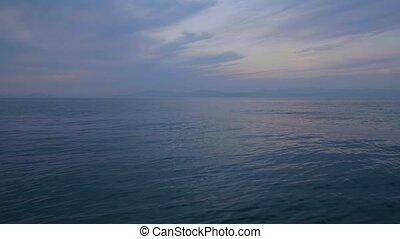 szenische ansicht, von, segel, schiff, auf, wasserspiegel,...