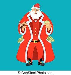 szent, ember, után, öreg, vagyon, work., klaus, pénz., pocketful, készpénz., emolument, fizetés, sors, év, christmas., új, income., gazdag, karácsony, friss