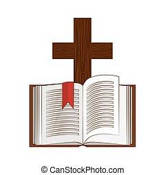 szent, ikon, biblia, jámbor