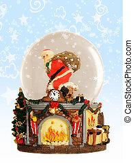 szent, kandalló, meleg, fa, karácsony