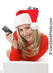 szent, leány, bevásárlás, noha, egy, kártya