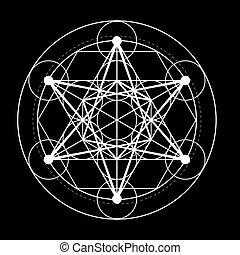 szent, metatrons, vektor, mértan, köb, jelkép., black háttér, ábra