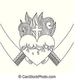 szent szív, közül, jézus