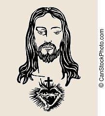 szent szív, lord, arc, jézus
