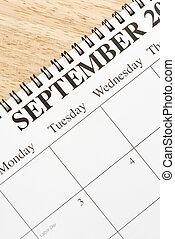 szeptember, calendar.