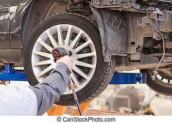 szerelő, átalakuló, autó tol, -ban, service.