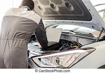 szerelő, autó, diagnózis, laptop, workshop.