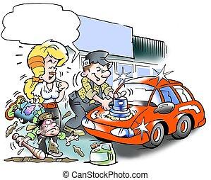 szerelő, autó, polishes, övé