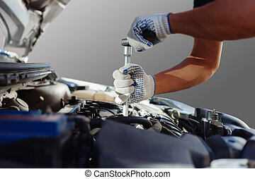 szerelő, dolgozó, alatt, autó megjavítás, garage., autó, fenntartás
