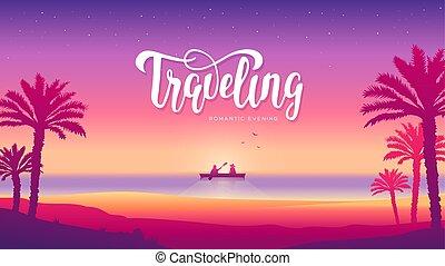 szerelmes pár, árnykép, illustration., bóra, kilátás, otemanu, overwater, szünidő, francia, erőforrás, csónakázik, napnyugta, fényűzés, polinézia, tengerpart, bóra, romantikus