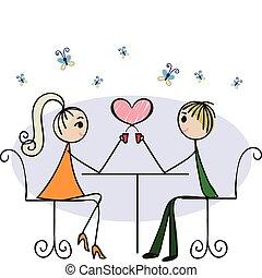 szerelmes pár, alatt, egy, kávéház